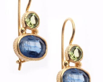 Peridot and Iolite 24k Gold Vermeil Wire Earrings