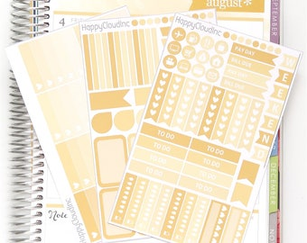 August '18 HORIZONTAL Planner Stickers Kit for use with Erin Condren LifePlanner™ (3 sheets)
