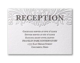 Elegant White Wedding Reception Letterpress Cards, 100 Percent Cotton 220 LB Card Stock Letterpress Enclosure Cards