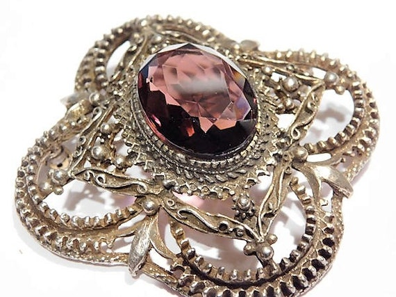 Amethyst Glass Filigree Brooch Pendant Victorian Revival Jewelry Wedding Bride Bridal Spring Summer Prom Easter Mom Mothers Day Gift Her