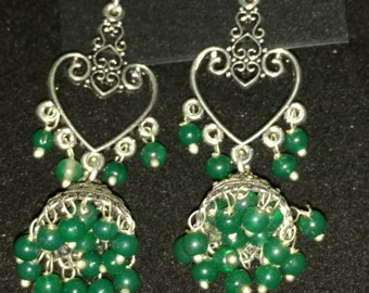 Green Jade Heart-Tassel Earrings