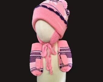 Vintage 70's Pink Hat + Gloves set New old Stock 12-24M