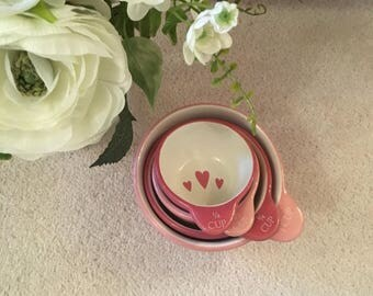 Set of Pink Heart Measuring Cups