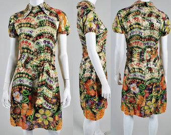 Exquisite vintage 1960s Metallic and Floral  Rodrigues dress   A1