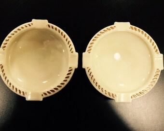 Wheaton Ware Custard Glass Ashtrays-Set of 2 - Item #1401