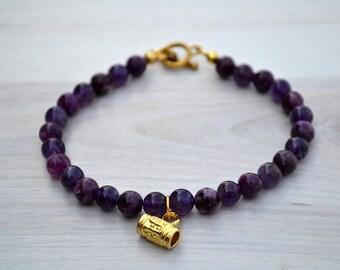 Lepidolite bracelet, Violet lepidolite bracelet, Lepidolite gift, Lepidolite jewelry, Lepidolite gift, Lepidolite beaded bracelet.