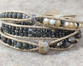Grey Cloud Triple Wrap Beaded Bracelet