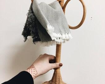 Vintage Wicker Towel Hanger / Rattan Towel Holder / Hand Towel Holder