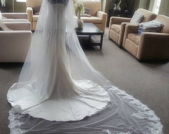 """Bridal Light Ivory/ White Lace With Applique Veil Cathedral Length 2 Tiers Raw Edge Blusher 120"""" Long Made to Order"""