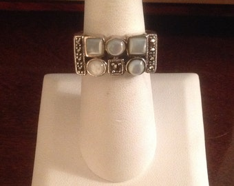 Sterling Silver Mother-of-Pearl & Marcasite Ring (KTH)...Size 7-3/4