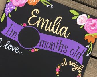 Reusable Monthly Chalkboard Sign / Monthly Milestone / Reusable Board / Newborn Photoprop