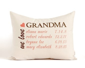 Grandma Pillow, Gift For Grandma, Grandkids Pillow, Grandpa Gift, Personalized Pillow, Grandmother Gift