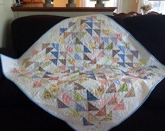 Handmade Homemade Quilt/Throw in White, Blues, Pinks, Greens