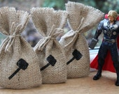 Small Rustic Hessian Burlap Marvel's Thor's Hammer Mjölnir Geek Comic Book Wedding Birthday Party Gift Bags Pouches W9 x H15cm (3.5