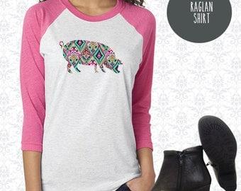Pink Pig Raglan