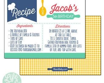 Baking Recipe Party Invitation | Cooking Party Invitation | Recipe Invitation | Baking Recipe Invitation - 5x7 with reverse side