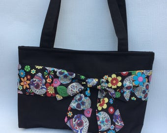 Sugar skull bag,Handmade handbag with Bow, handbag, ladies bag, shoulder bag, gifts for her