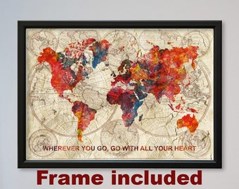 world map framed watercolor poster old world map confucius quote gift home decor wall hanging express fast delivery