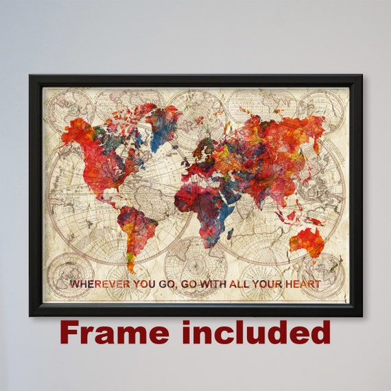 World Map FRAMED Watercolor Poster Old World Map Confucius Quote Gift ...