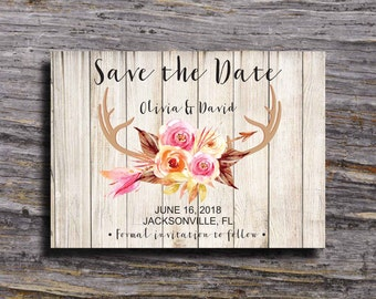 Antler Save the Date Printable, Floral Antler Save the Date, Boho Save the Date, Rustic Save the Date, Antler and Arrows