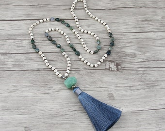 Ocean Grass agate bead necklace Gemstone necklace Grey silk tassel necklace Chic Turquoise necklace bead tassel necklace Bead Jewelry NL-016