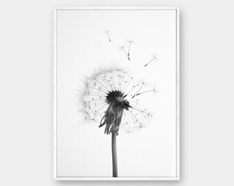 Dandelion Wall Art, Printable Art, Dandelion, Black and Whit, Simple Decor, Dandelion Decor, Dandelion Art, Dandelion Print, Printable Art