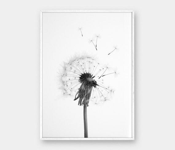 Dandelion Wall Art Dandelion Decor Black White Bedroom: Dandelion Wall Art Printable Art Dandelion Black And Whit