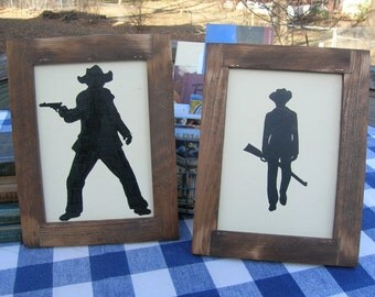 Cowboy Silhouette Wood Signs - Painted, Framed, Set of Two - Boys' Room, Den, Cabin Wall Hanging