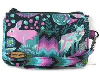 Fox wallet, Bunny wallet, Clutch wristlet, Cellphone wallet, Fabric wallet, Credit card for phone, Organizer wallet, Zipper pouch, Pink bag