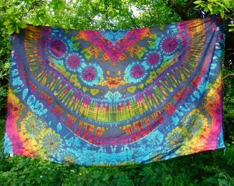 Blue Tie Dye Scarf Sarong Throw Rainbow Wall Hanging Psychedelic Wrap Beach Cover up