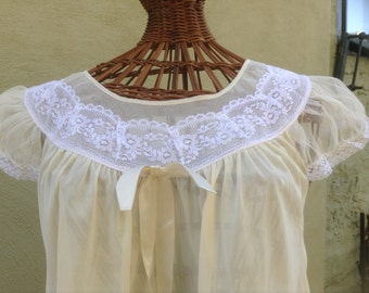 Vintage Lace Trimmed Baby Doll Nightie Top