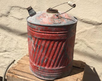 Vintage Gas Can; Red Metal Gas Can; Garden Decor; Industrial Decor; Metal Gas Can; Gasoline Can; Fuel Can; Rustic Decor