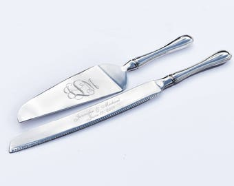 Personalized Cake Knives, Silver Cake Knives, Wedding Serving Set, Wedding Cake Set, Engraved Cake Severs, Wedding Knife Set, Custom Wedding