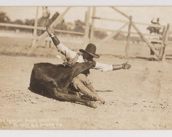 Real Photo Postcard, #8 Lynch Bull Dogging, 1917 Miles City Roundup, Old Cowboys, Rodeo, Horses, Montana, Vintage Postcard,