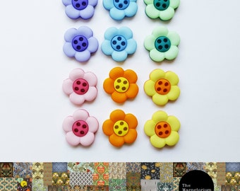 Bright Flower Fridge Magnet Set