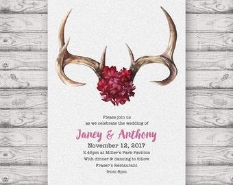 Bohemian Wedding Invitation - Print At Home File or Printed Invitations - Floral Boho Watercolour Personalised Wedding Invite