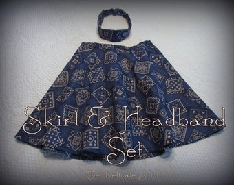 4T Toddler Girl Skirt and Headband Set--Fully Lined--Navy Bandana Print--Cowgirl Outfit--Modest--Free Shipping