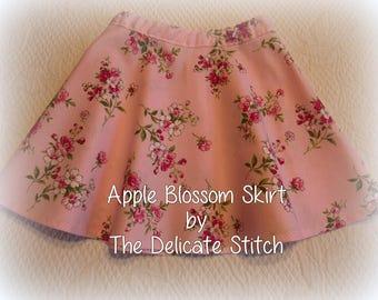 2T Toddler Girl Pink Skirt--Waverly Apple Blossom Print--Free Shipping