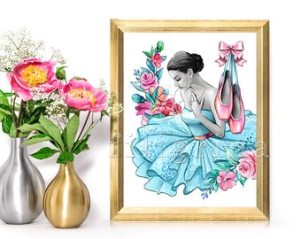 Ballerina PRINTABLE POSTER. Ballet shoes. Digital art. Inspirational artwork. Watercolor wall decor. Floral art. Birthday gift / A4 + Letter