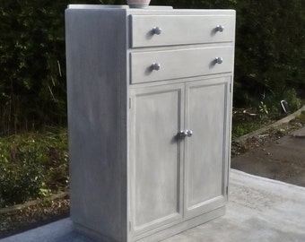 Fabulous,Tallboy with two Drawers and Large cupboard. Shabby Chic, Pale Grey/White.