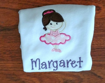 Personalized Ballerina Embroidered Shirt/oneise