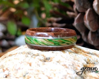 Platinum inlay, Walnut and Emerald Maple Wood Ring - mens ring, wood ring, Platinum ring, wood wedding band, man ring, wood ring for man