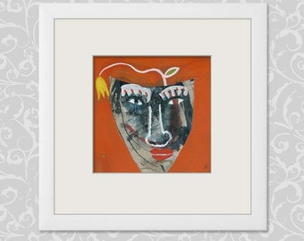 Painting abstract 20/20 cm (7.87 x 7.87 inch) portrait