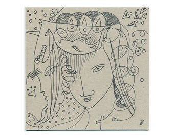 Wall picture 15/15 cm (5.9/5.9 inch) original drawing - abstract art - portrait hand-drawn