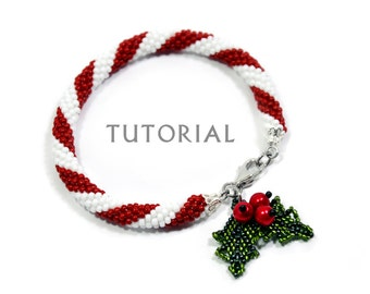 Beading Tutorial Bracelet Pattern Christmas Beadwork Seed Bead Crochet Stitching DIY Step by Step Instruction Gift Holiday Candy Cane Holly