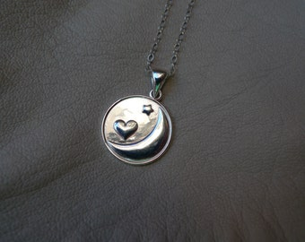"Dainty everyday wear, women's jewelry, sterling silver ""I love You To the Moon and Back"" charm, simple, layer neckklace"