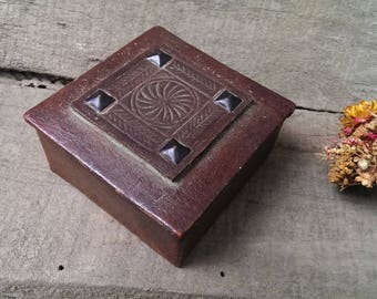 Vintage Small Brown Genuine Leather Box, Real Leather Jewelry Box, Treasure Box, Trinket box, Luxury Gift for Her, Very Old Box from 1950s
