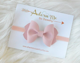 Blush Faux Leather Bow // 3 sizes // headband or clip