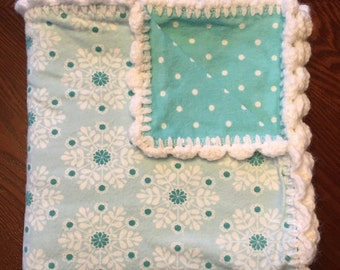 Free Shipping! Baby Boy Receiving Blanket with Hand Crochet Edge