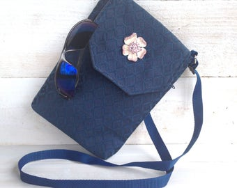 Travel Purse, Small Purse, Cross Body Purse, Navy Blue - Light weight, upholstery fabric, blue purse or tote